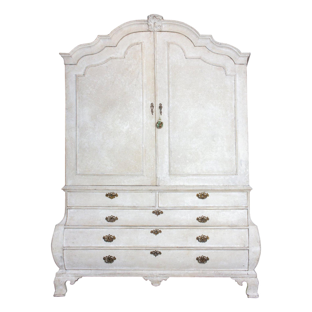 19th Century Painted Dutch Linen Press in Cream and Blue