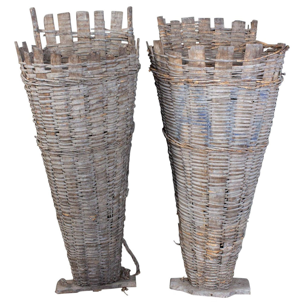 Pair of Antique French Vineyard Harvest Baskets