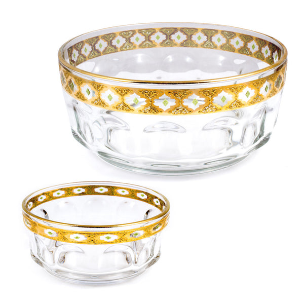 Set of Two French Arcoroc Gold-Rimmed Serving Bowls