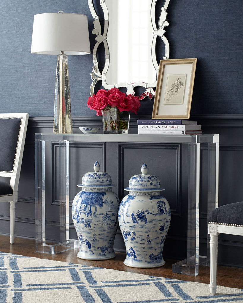 Ava Acrylic Console Table with Glass Top