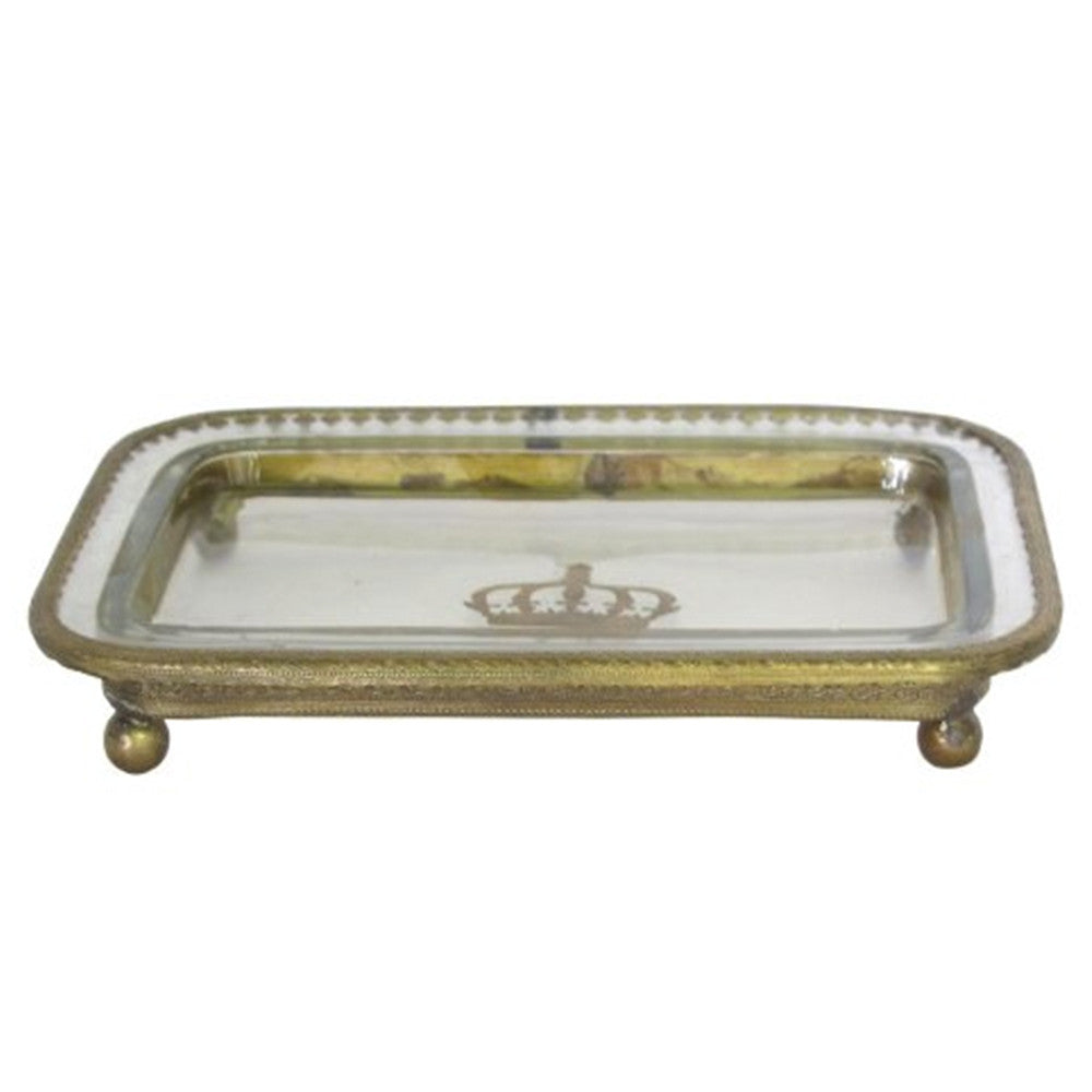 Hand Painted Glass Crown Tray