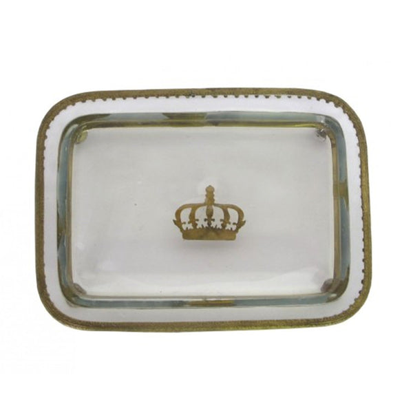 Handpainted Glass Crown Tray
