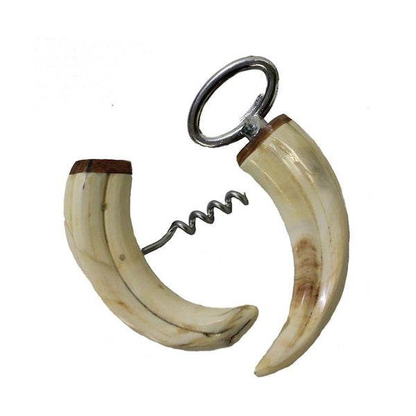 Natural Boar Tusk Bottle Opener & Corkscrew Set