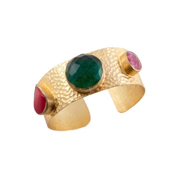 Natural Stone, Glass & Brass Cuff from Istanbul