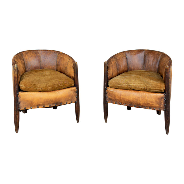 Antique French Leather & Velvet Barrel Back Chairs (Pair)
