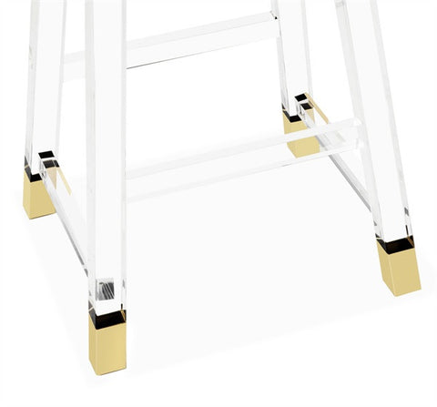 Reva Acrylic & Brass Bar Stool
