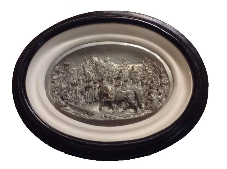 Pair of 19th Century Belgian Pewter Bas Reliefs from Mathieu Justin