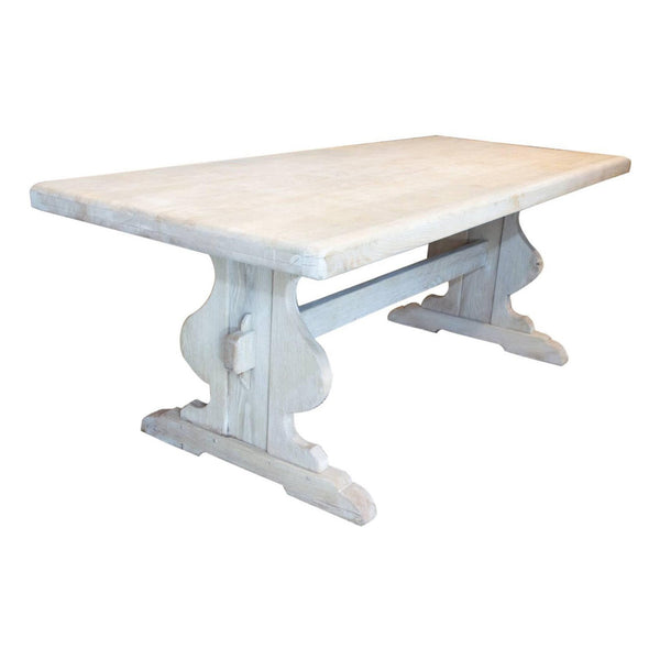 Antique Belgian Oak Table in Whitewash Finish