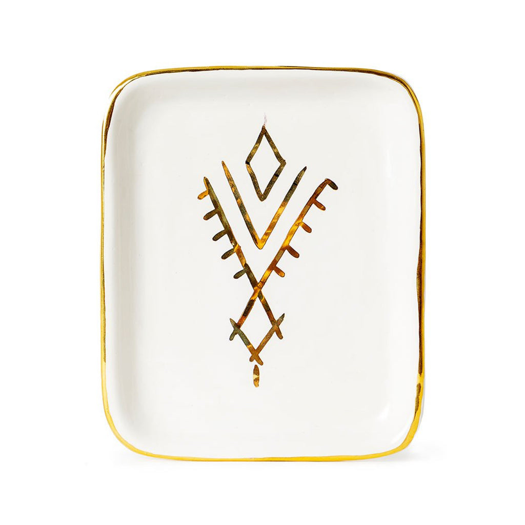 Handmade Moroccan Ceramic Tray in Gold Berber Pattern