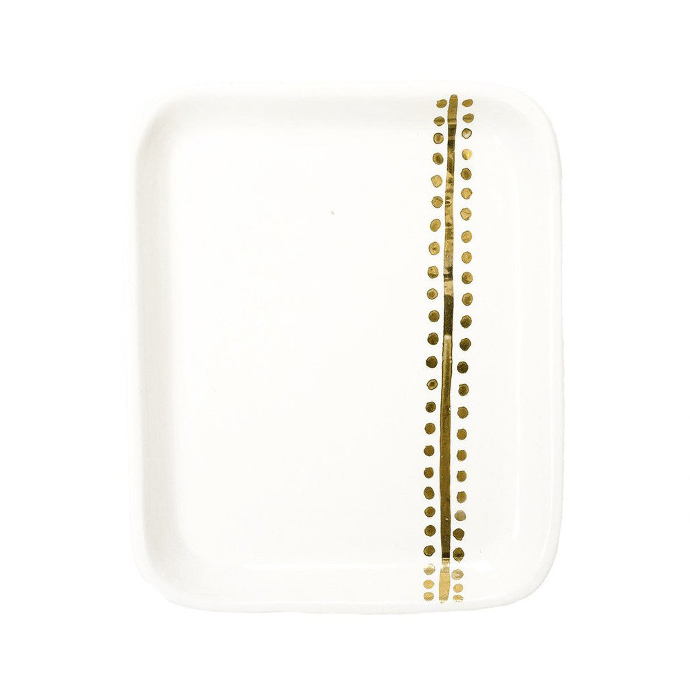 Handmade Moroccan Ceramic Tray in Gold Berber Dot (More Colors Available)