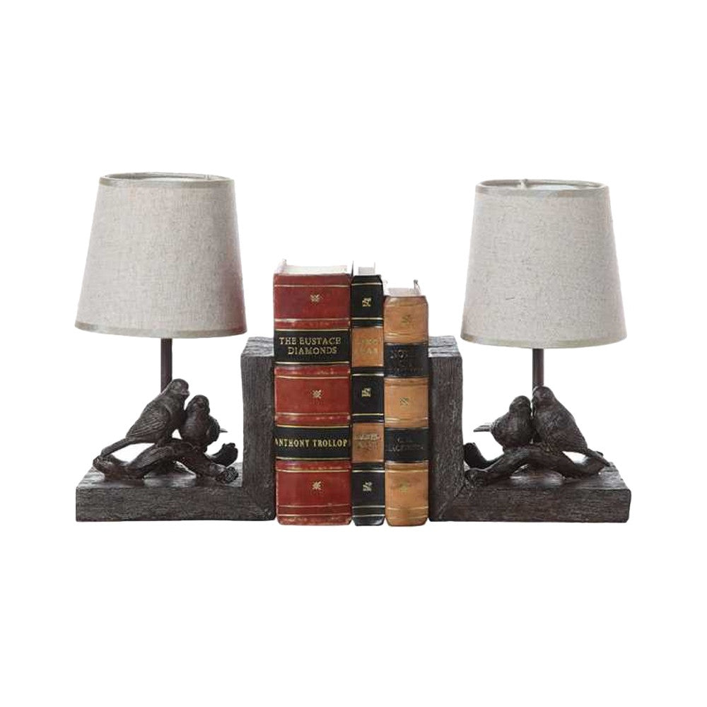 Resin Bird Lamp Bookends
