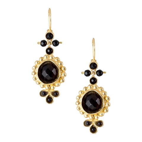Turkish Delights Earrings: Black Faceted Drops