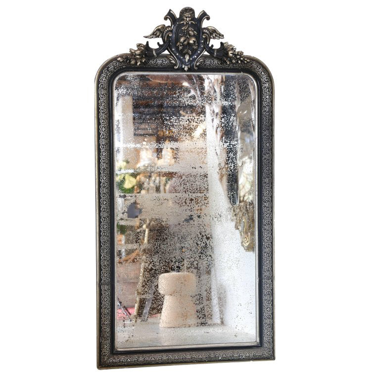 19th Century Black & Gilt Louis Philippe Mirror with Pomegranate Decoration