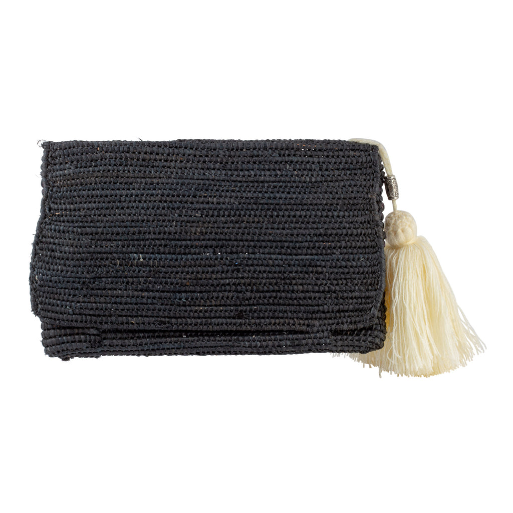 Moroccan Handmade Black Raffia Envelope Clutch with Tassel
