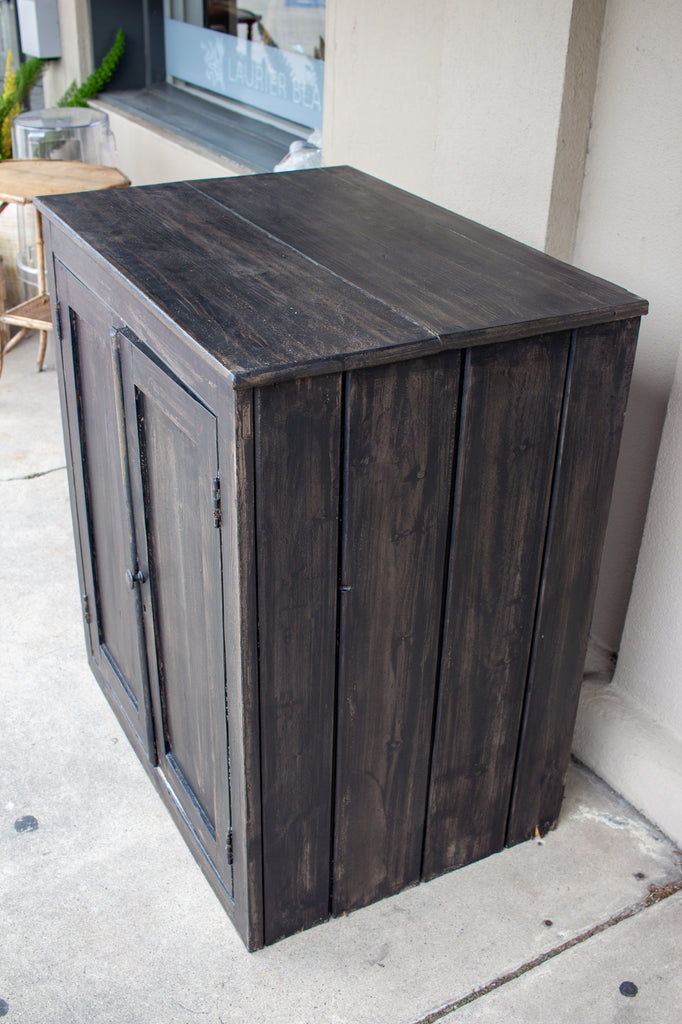 Vintage Wood Bar Cabinet in Black Wash Painted Finish