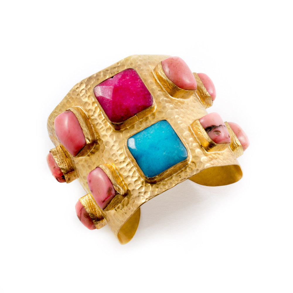 Quartz & Pink Coral Brass Cuff from Istanbul
