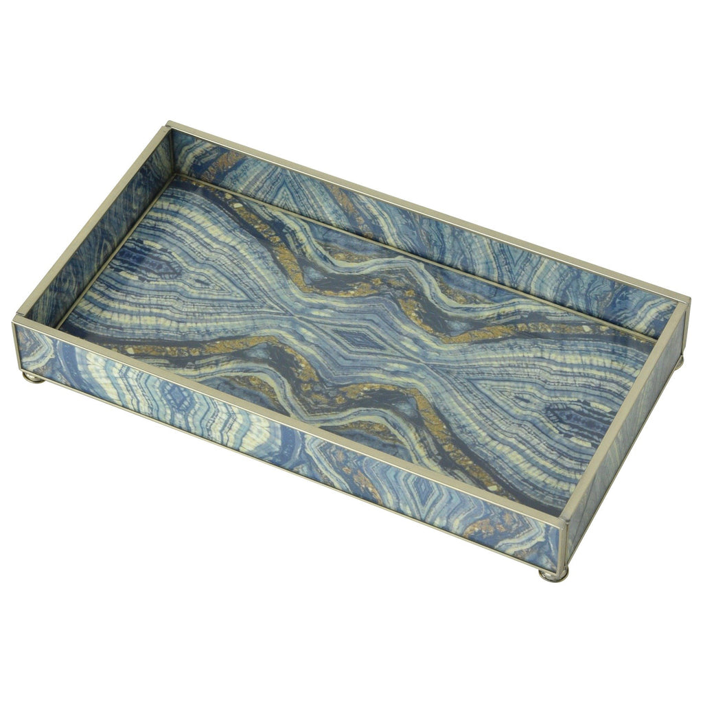Blue Quartz Nickel & Glass Tray