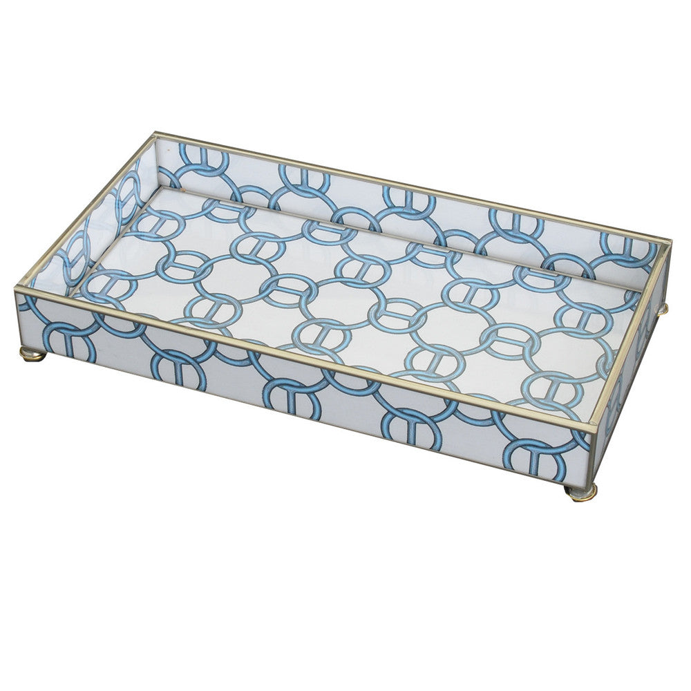 Blue Chain Patterned Glass Tray