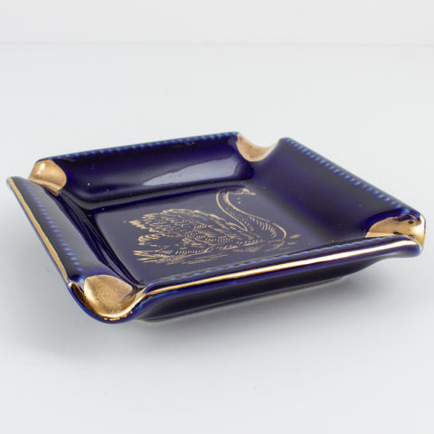 Vintage Blue & Gold Ceramic Ashtray with Swan Design