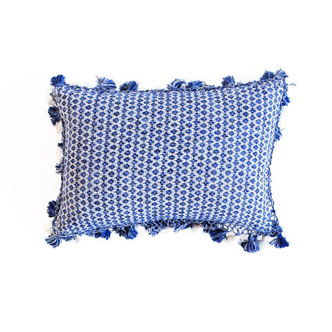 Blue and White Handmade Linen Lumbar Pillow from Guatemala