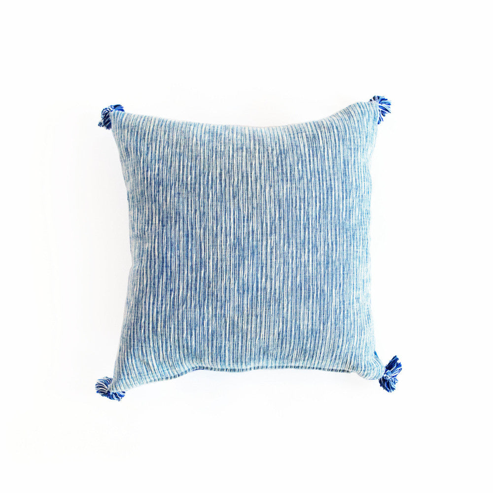 Blue & White 18-inch Handmade Linen Pillow with Tassels from Guatemala