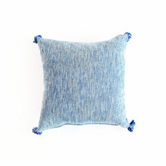 Blue & White 18-inch Handmade Linen Pillow with Tassels from Guatamala