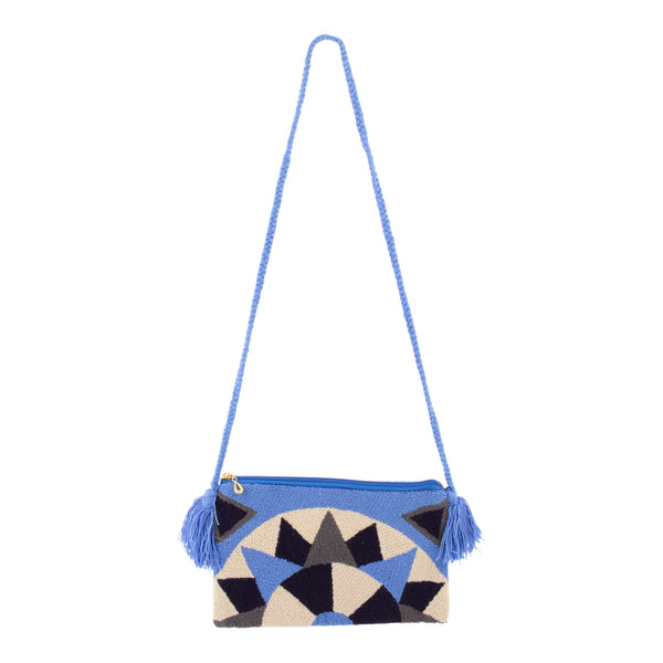 Handmade Colombian Wayuu Textile Shoulder Strap Bag in Blue
