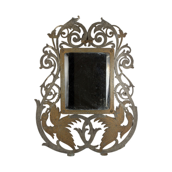 1930s Brass Art Deco Mirror from France