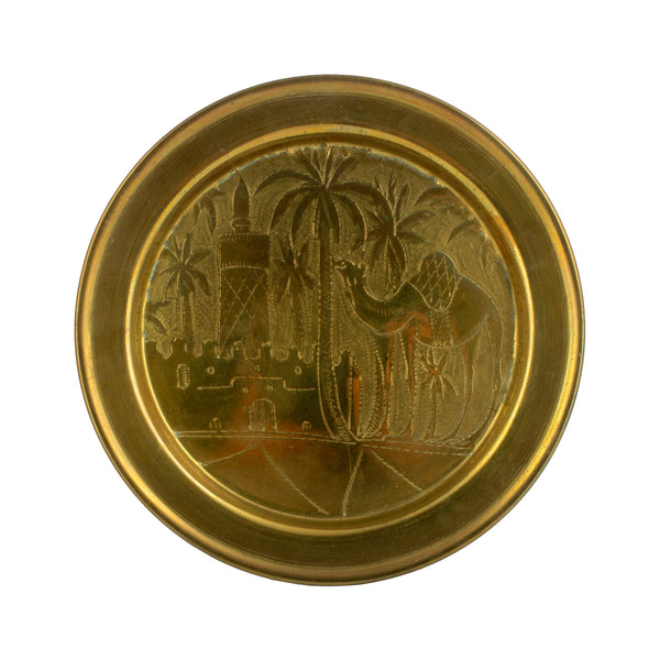Vintage Hand-Hammered Brass Plate with Camel & Palm Trees