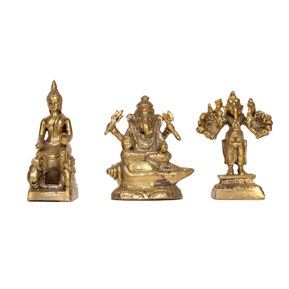 Miniature Brass Deities of Buddha and Ganesha