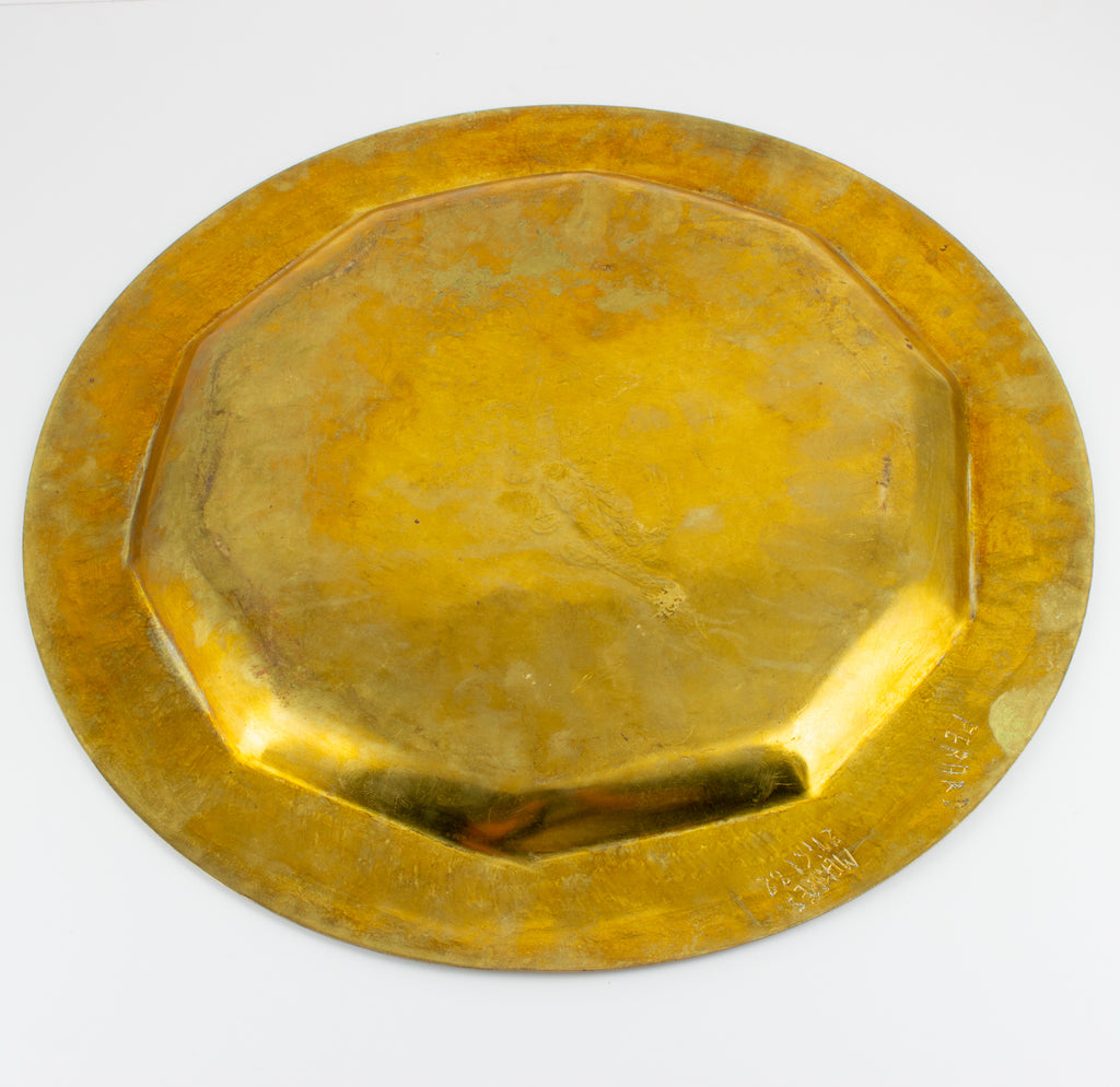 Vintage Moroccan Brass Tray with Engraved Design