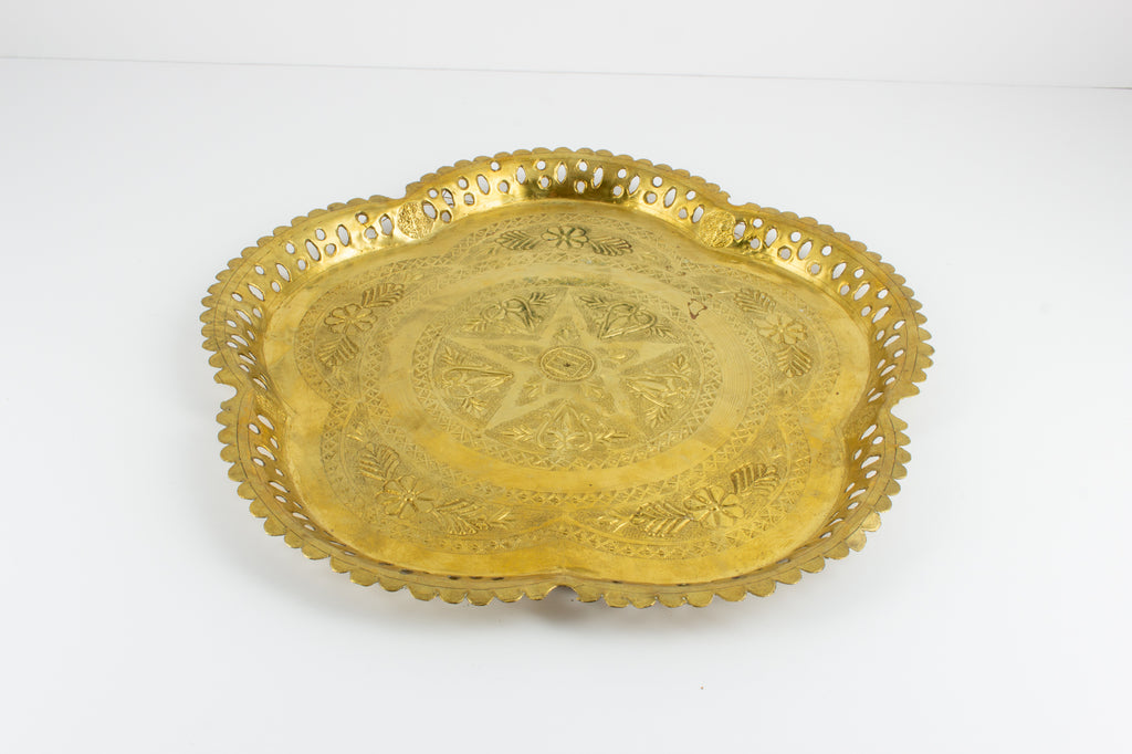 Vintage Moroccan Brass Tray with Pierced Edge & Star Motif