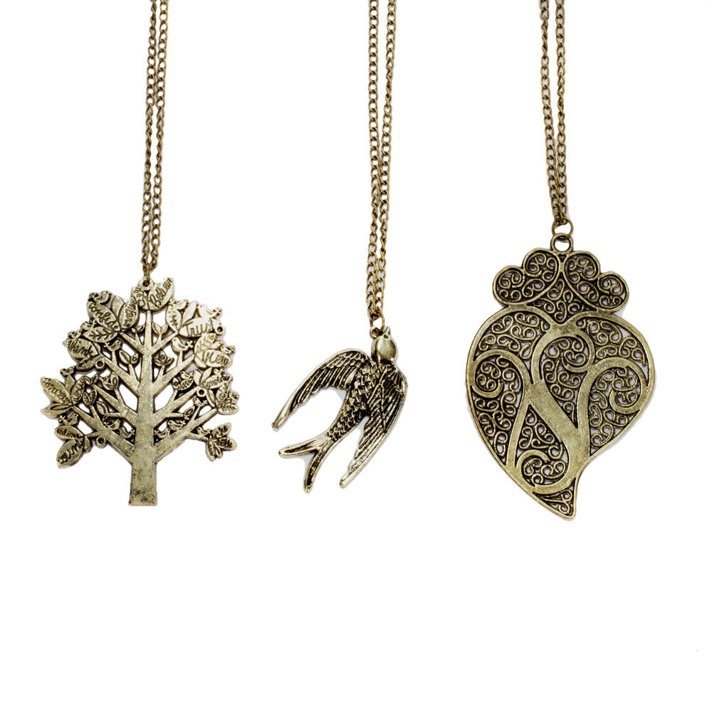 Tree of Life, Sparrow & Buddhist Paisley Brass Necklaces