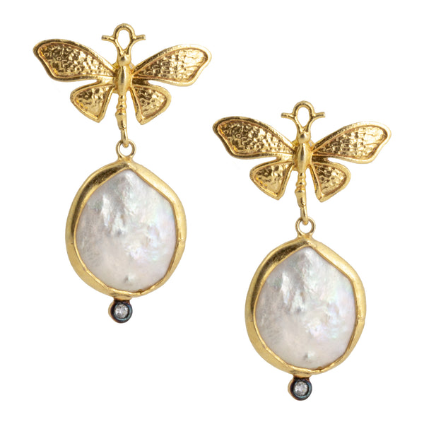 Handmade Gold Butterfly & Natural Pearl Drop Earrings from Istanbul