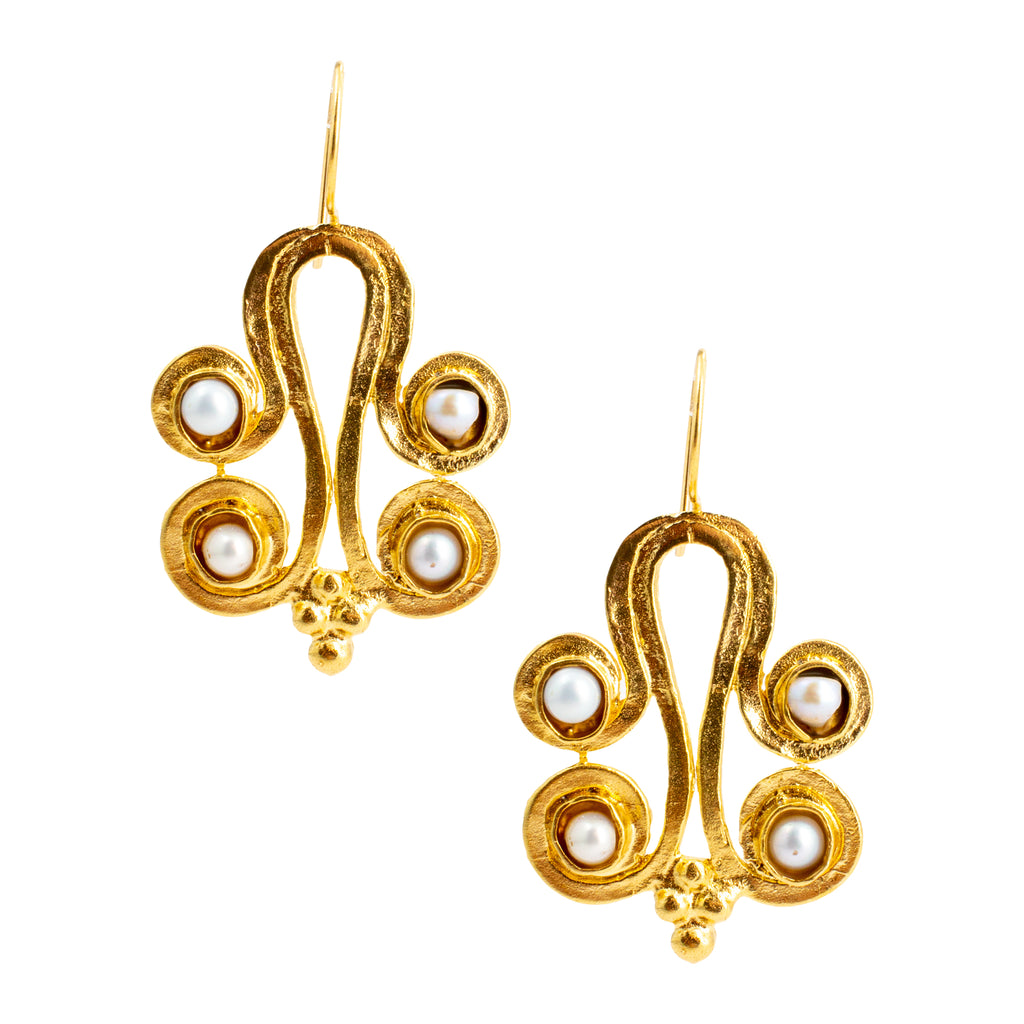 Handmade Byzantine Pearl Drop Earrings from Istanbul