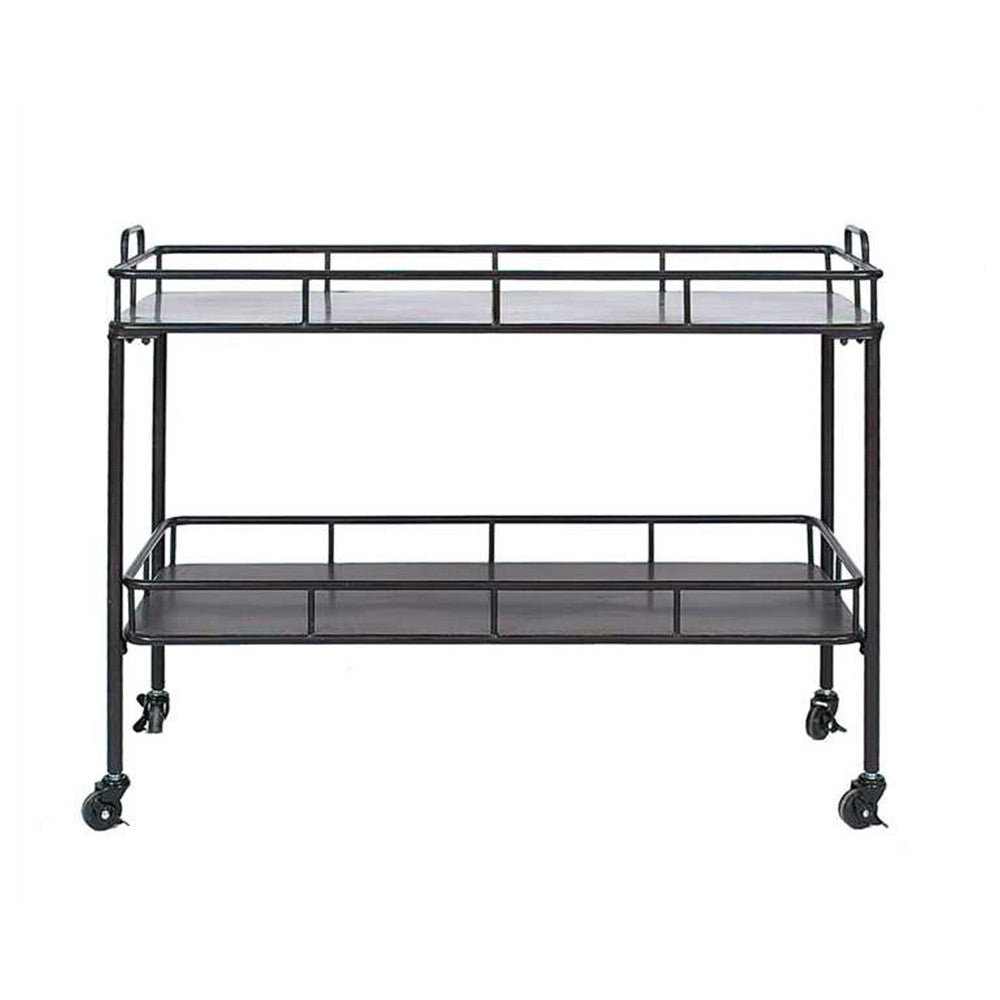 Two Tier Metal Bar Cart in Vintage Black