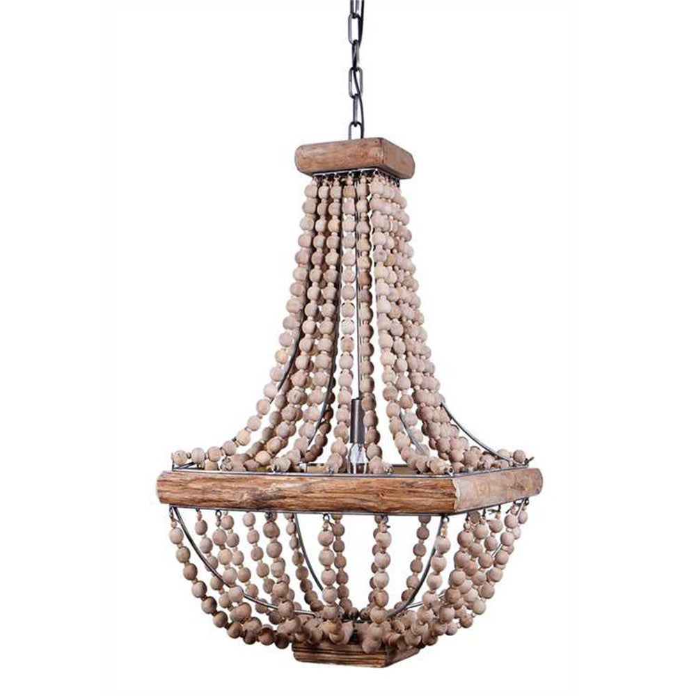 Square Wooden Beaded Chandelier