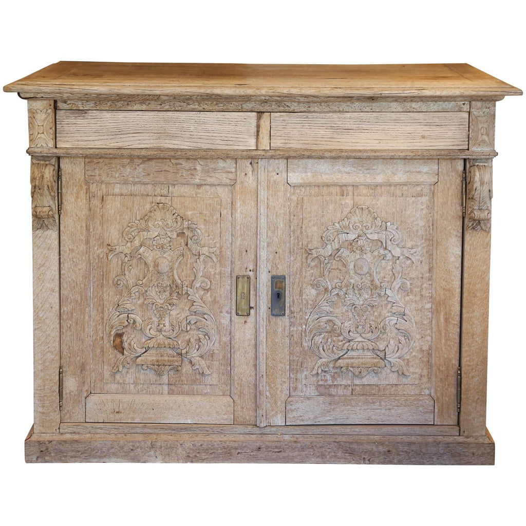 Antique Stripped French Oak Cabinet with Carved Appliqué Doors
