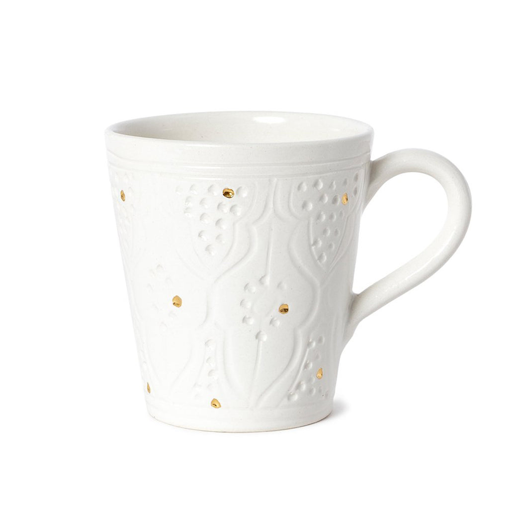 Handmade Glazed Moroccan Handled Mug with 12K Gold | Engraved White