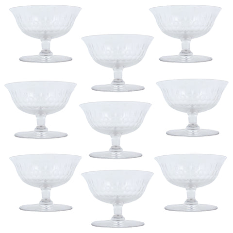 Set of Vintage French Crystal Champagne Coupes