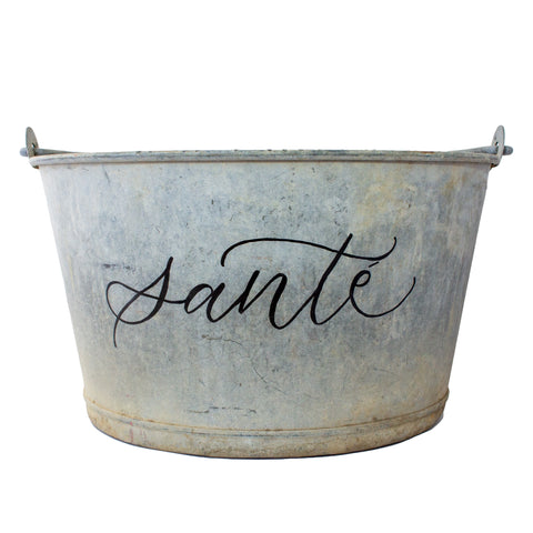 "Vintage French Zinc Bucket with Custom ""Santé"" Calligraphy"
