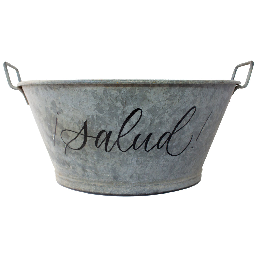 "Vintage French Zinc Bucket with Custom ""Salud"" Calligraphy"