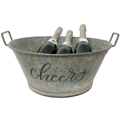 "Vintage French Zinc Bucket with Custom ""Cheers"" Calligraphy"