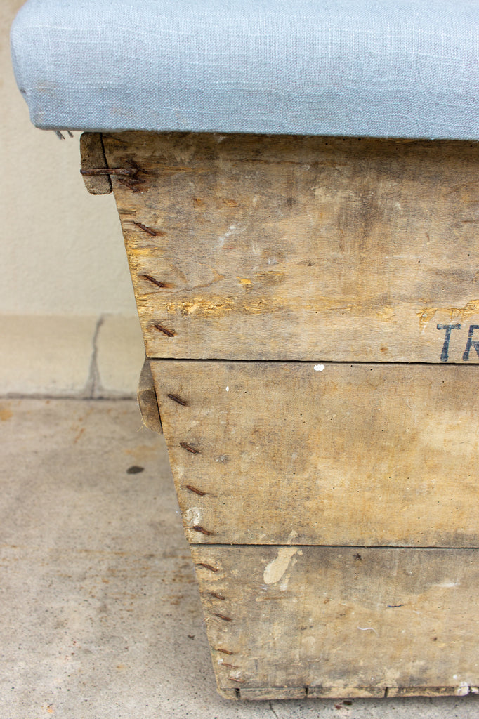Antique French Champagne Harvest Crate with Upholstered Linen Top | Blue