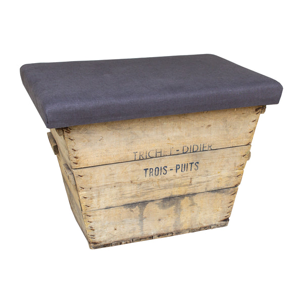 Antique French Champagne Harvest Crate with Upholstered Linen Top | Charcoal