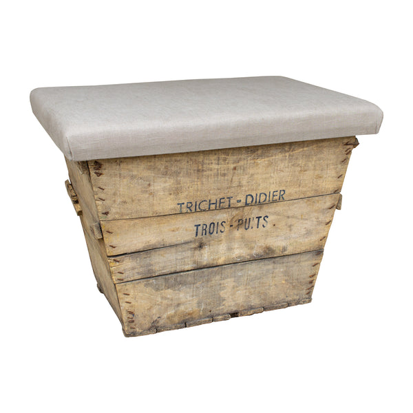 Antique French Champagne Harvest Crate with Upholstered Linen Top | Beige