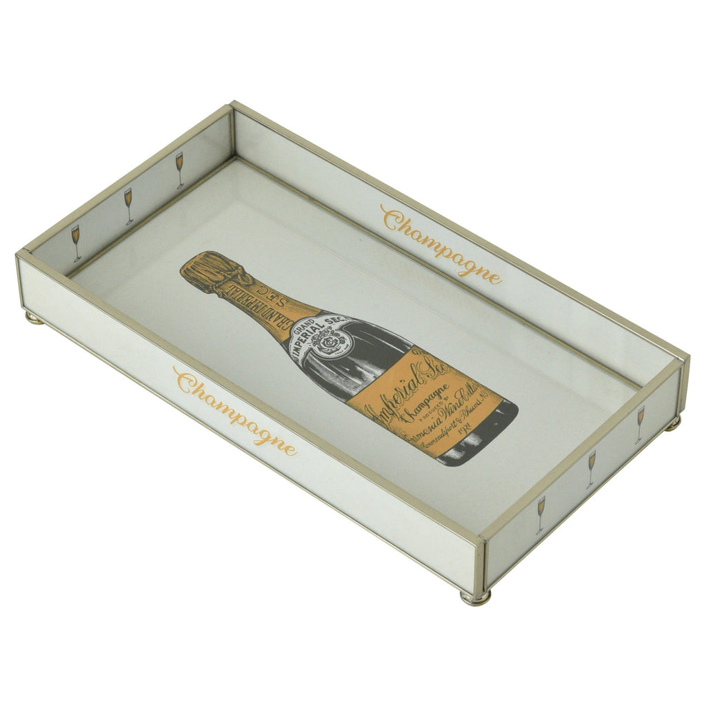 Orange Brut Champagne Bottle Nickel & Glass Tray