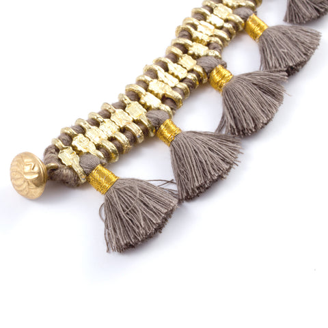 Charming Tassel Bracelet in Taupe - Handmade in Egypt