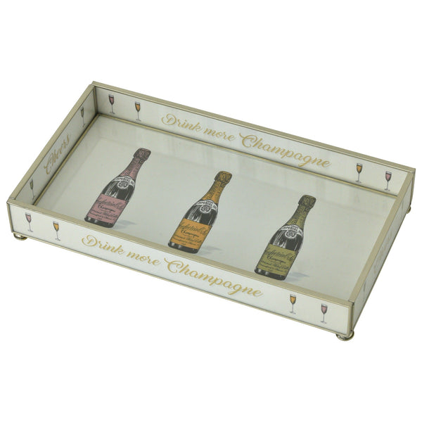 Three Cheers Nickel & Glass Tray