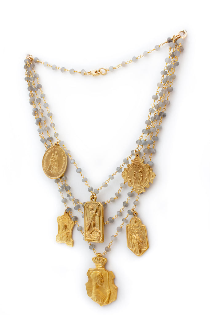 Handmade Multistrand Laboradite Necklace with Vintage Religious Charms